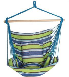 hamaca silla colgante columpio de cuerda y dos almohadas grande deluxe kit